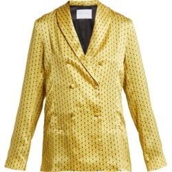Asceno - Geometric Print Sandwashed Silk Pyjama Jacket - Womens - Yellow Print found on MODAPINS from MATCHESFASHION.COM - AU for USD $212.51