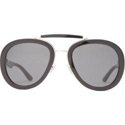 Miu Miu - Aviator Acetate And Metal Sunglasses - Womens - Black found on Bargain Bro UK from Matches UK