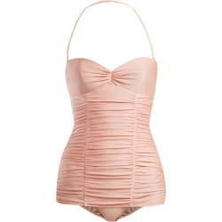 Adriana Degreas - X Charlotte Olympia Ruched Halterneck Swimsuit - Womens - Pink found on MODAPINS from Matches Global for USD $393.00