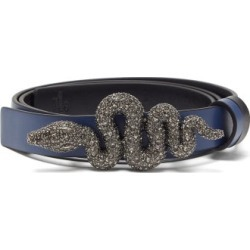 Valentino Garavani - Crystal-embellished Snake-buckle Leather Belt - Womens - Navy found on Bargain Bro Philippines from Matches Global for $567.00