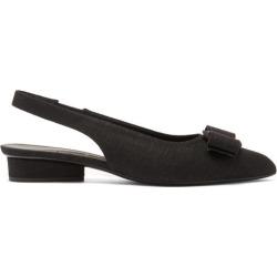 Salvatore Ferragamo - Viva Point-toe Linen Slingback Flats - Womens - Black found on Bargain Bro UK from Matches UK