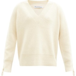 JW Anderson - V-neck Cable-knit Sleeve Alpaca-blend Sweater - Womens - Ivory found on MODAPINS from Matches UK for USD $806.32