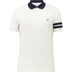 Brunello Cucinelli - Crest-embroidered Cotton-piqué Polo Shirt - Mens - Cream found on MODAPINS from Matches Global for USD $625.00