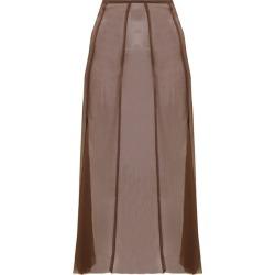 Albus Lumen - Aziza Raw-hem Silk Skirt - Womens - Brown found on Bargain Bro UK from Matches UK