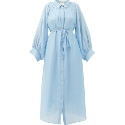 Anaak - Cleo Balloon-sleeve Cotton-blend Midi Shirt Dress - Womens - Light Blue found on MODAPINS from Matches Global for USD $357.00