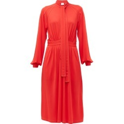 Burberry - Haima Pussy-bow Jersey Midi Dress - Womens - Red