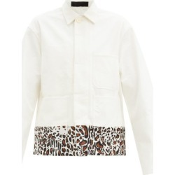Haider Ackermann - Leopard-print Trim Cotton Overshirt Jacket - Mens - Cream found on MODAPINS from Matches UK for USD $817.02