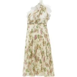 Giambattista Valli - One-shoulder Floral-print Plissé Silk Dress - Womens - Ivory Multi found on MODAPINS from Matches UK for USD $889.66