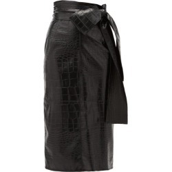 MSGM - Crocodile-effect Faux Leather Midi Skirt - Womens - Black found on Bargain Bro UK from Matches UK