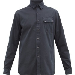 Belstaff - Logo-patch Brushed Cotton-twill Shirt - Mens - Navy found on MODAPINS from Matches Global for USD $195.00