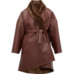 Balenciaga - Oversized Faux-fur And Faux-leather Wrap Coat - Womens - Burgundy found on Bargain Bro Philippines from MATCHESFASHION.COM - AU for $1480.58
