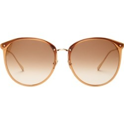 Linda Farrow - Round Acetate Sunglasses - Womens - Brown found on Bargain Bro UK from Matches UK