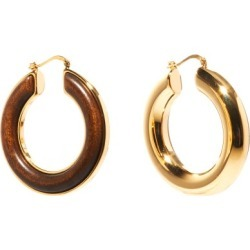 Jil Sander - Eclipse Wood-insert Hoop Earrings - Womens - Brown Gold found on Bargain Bro UK from Matches UK