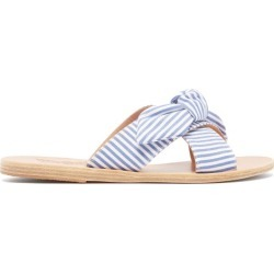 Ancient Greek Sandals - Thais Cross Strap Leather Sandals - Womens - Blue Stripe