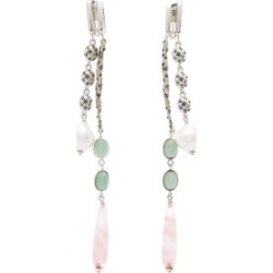 Chloé - Rose-quartz & Crystal-embellished Clip Earrings - Womens - Pink Silver found on Bargain Bro from Matches UK for £503