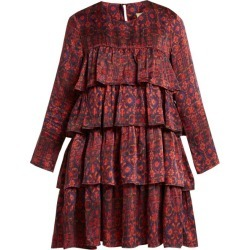 Muzungu Sisters - Jila Hameden Tiered-ruffle Silk Dress - Womens - Red Print found on Bargain Bro UK from Matches UK