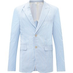 Comme Des Garçons Shirt - Single-breasted Striped Cotton Jacket - Mens - Blue White found on MODAPINS from Matches UK for USD $1152.06