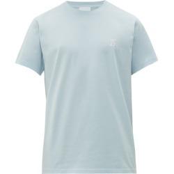 Burberry - Embroidered Monogram Cotton Jersey T Shirt - Mens - Light Blue