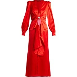 Alessandra Rich - V-neck Crystal-embellished Silk-satin Dress - Womens - Red found on MODAPINS from Matches Global for USD $794.00