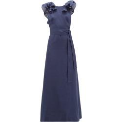 Kalita - Eros Waist-tie Ruffled Linen Maxi Dress - Womens - Navy found on MODAPINS from Matches Global for USD $284.00