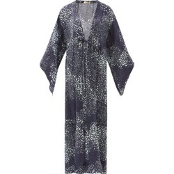 Adriana Degreas - Serpent-print Silk Coverup - Womens - Navy Print found on MODAPINS from MATCHESFASHION.COM - AU for USD $969.90