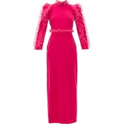 Givenchy - Organza-ruffle Long-sleeve Velvet Gown - Womens - Pink found on Bargain Bro Philippines from MATCHESFASHION.COM - AU for $5636.34