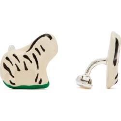 Bottega Veneta - Zebra Sterling Silver Enamel Cufflinks - Mens - White Multi found on Bargain Bro UK from Matches UK