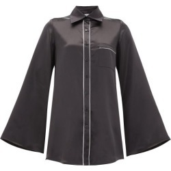 Adriana Iglesias - Romeo Silk-satin Top - Womens - Black White found on MODAPINS from Matches Global for USD $204.00
