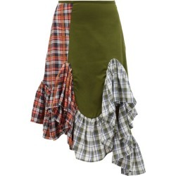 Marques'almeida - Upcyled Deconstructed Ruffled Cotton Midi Skirt - Womens - Khaki Multi found on MODAPINS from Matches Global for USD $175.00