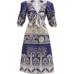 Johanna Ortiz - Any Route Goes Printed Cotton-blend Midi Dress - Womens - Navy Multi found on MODAPINS from MATCHESFASHION.COM - AU for USD $1053.96