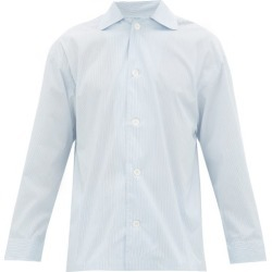 E. Tautz - Hairline-striped Cotton-poplin Pyjama Shirt - Mens - Blue White found on MODAPINS from Matches UK for USD $81.57