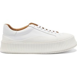 Jil Sander - Ribbed-sole Leather Trainers - Womens - White found on Bargain Bro UK from Matches UK