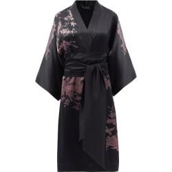 Carine Gilson - Bird-print Silk-satin Midi Robe - Womens - Black found on MODAPINS from Matches Global for USD $1744.00