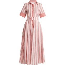 Gül Hürgel - Belted Striped Linen Blend Dress - Womens - Pink Stripe found on Bargain Bro UK from Matches UK