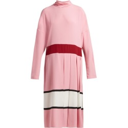 Marni - High-neck Pleated Midi Dress - Womens - Pink White found on Bargain Bro from Matches UK for £511