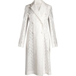 Calvin Klein - Coated-overlay Broderie-anglaise Coat - Womens - White