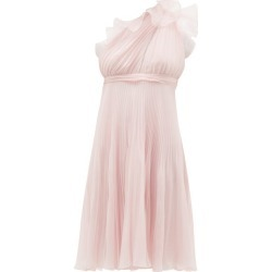 Giambattista Valli - Ruffle-trimmed Pleated One-shoulder Silk Dress - Womens - Light Pink found on MODAPINS from Matches Global for USD $987.00
