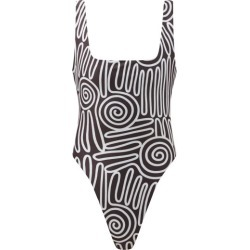 Mara Hoffman - Idalia Voluta-print High-cut Leg Swimsuit - Womens - Black White found on MODAPINS from Matches UK for USD $480.61