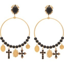 Dolce & Gabbana - Beaded Charm-embellished Hoop Clip Earrings - Womens - Gold found on Bargain Bro from Matches UK for £729