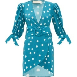 Adriana Degreas - Polka-dot Belted Cotton Wrap Dress - Womens - Blue Print found on MODAPINS from Matches Global for USD $195.00