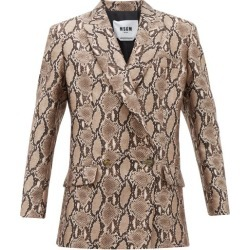 MSGM - Double-breasted Snake-print Crepe Blazer - Womens - Beige Multi found on Bargain Bro UK from Matches UK