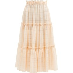 Lisa Marie Fernandez - Ruffle-trimmed Tiered Cotton-blend Voile Skirt - Womens - Orange Stripe found on MODAPINS from Matches UK for USD $862.28
