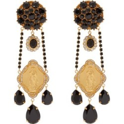 Dolce & Gabbana - Madonna Crystal-embellished Clip Earrings - Womens - Black Gold found on Bargain Bro from Matches UK for £930