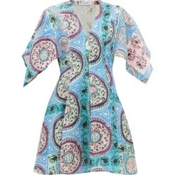 JW Anderson - Mystic Paisley-print Linen Mini Dress - Womens - Blue Multi found on MODAPINS from MATCHESFASHION.COM - AU for USD $349.41