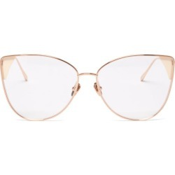 Linda Farrow - Ida Cat-eye 18kt Rose Gold-plated Glasses - Womens - Gold found on MODAPINS from MATCHESFASHION.COM - AU for USD $767.70