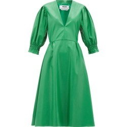 MSGM - V-neck Faux-leather Midi Dress - Womens - Green found on Bargain Bro UK from Matches UK