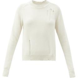Maison Margiela - Distressed Side-slit Sweater - Womens - Cream found on Bargain Bro UK from Matches UK