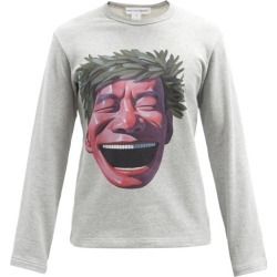 Comme Des Garçons Shirt - X Yue Minjun Laughing Caesar Cotton Sweatshirt - Mens - Grey Multi found on MODAPINS from Matches Global for USD $184.00