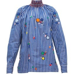 Prada - High-neck Embroidered Cotton-poplin Blouse - Womens - Blue found on Bargain Bro UK from Matches UK