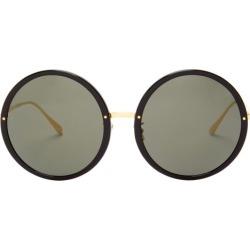 Linda Farrow - Kew Oversized Round Acetate Sunglasses - Womens - Black Gold found on MODAPINS from MATCHESFASHION.COM - AU for USD $515.67